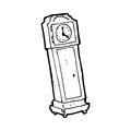 Cartoon grandfather clock black and white line in retro style vector available Royalty Free Stock Photo