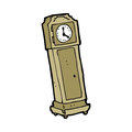 Cartoon grandfather clock hand drawn illustration in retro style vector available Stock Image