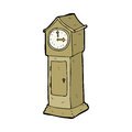 Cartoon grandfather clock hand drawn illustration in retro style vector available Royalty Free Stock Photo