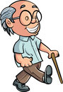 Cartoon Grandfather walking with a stick Royalty Free Stock Photos