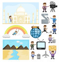 Cartoon Graphics of Technology and Travel