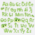 Cartoon green alphabet with eyes vector illustrated Royalty Free Stock Image