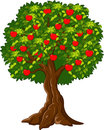 Cartoon Green Apple tree full red apples Royalty Free Stock Photo