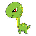Cartoon of Green Baby Brontosaurus Dinosaur