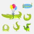 Cartoon green crocodile funny predator australian wildlife river reptile alligator flat vector illustration.