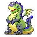 Cartoon green dragon. Vector Illustration Royalty Free Stock Photo