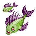 Cartoon green fish with purple fins and sharp teeth isolated on white background. Vector cartoon close-up illustration.