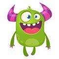 Cartoon green horned monster. Vector illustration isolated.