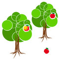 Cartoon green summer tree with a crown of circles  different diameters. Abstract trunk and roots. Red apple. Royalty Free Stock Photo