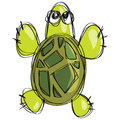 Cartoon green turtle in a childish naif doodle drawing style sea white background Royalty Free Stock Photos