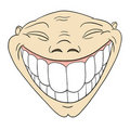 Cartoon grotesque funny face with big toothy smile Stock Photos