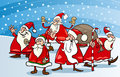 Cartoon group of santa clauses illustration claus characters at christmas eve Stock Photography