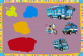 Cartoon guessing game for little kids with colorful police vehicles