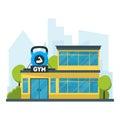 Cartoon Gym Fitness Building. Vector