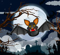 Cartoon halloween bat flying vector illustration background Royalty Free Stock Photo