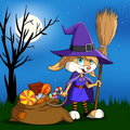 Cartoon halloween bunny girl with candy sack. Royalty Free Stock Image