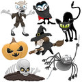 Cartoon halloween collection on white background Stock Images