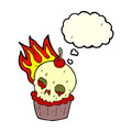 Cartoon halloween cup cake with thought bubble Royalty Free Stock Image