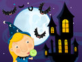 Cartoon halloween scene with bats castle amd wizard happy and colorful llustration for the children Stock Photos