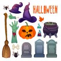 Cartoon halloween set. Scarry illustration for halloween party. Spider, witch hat, pumpkin jack and zombie hands clipart Royalty Free Stock Photo