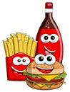 Cartoon Hamburger french fries coke bottle characters isolated Royalty Free Stock Photo