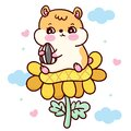 Cartoon hamster eating sun flower seed isolated on pastel background Royalty Free Stock Photo