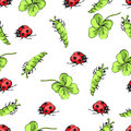 Cartoon hand drawing beetle ladybug, caterpillars and leaves clover seamless pattern, vector background. Funny insects