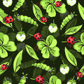 Cartoon hand drawing beetle ladybug and caterpillars, leaves and flowers of clover seamless pattern, vector background