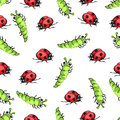Cartoon hand drawing beetle ladybug and caterpillars seamless pattern, vector background. Funny insects on a white