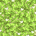 Cartoon hand drawing leaves and flowers of clover seamless pattern, vector background. For fabric design, wallpaper
