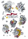 Cartoon hand drawn doodles Music illustration. Colorful detailed, with lots of objects background
