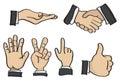Cartoon Hand Gestures Vector Illustration
