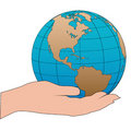 Cartoon hand holds a western hemisphere globe Stock Photography