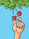 Cartoon hand picking a cherry Royalty Free Stock Photography