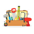 Cartoon Hand Tools Box. Vector