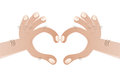Cartoon hands forming heart illustration of Royalty Free Stock Image