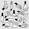 Cartoon hands with gloves icon set isolated on transparent background. Vector clipart - parts of body, arms in white Royalty Free Stock Photo