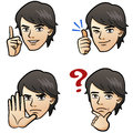 Cartoon handsome man expressing different emotion hand signs white background japanese manga style Stock Photo