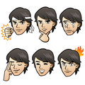 Cartoon handsome man expressing different emotion variation white background japanese manga style Stock Images