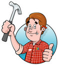 Cartoon handyman logo Stock Images