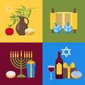 Cartoon Hanukkah Banner Card Set. Vector