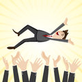 Cartoon happiness businessman throw up teammate hand