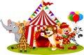 Cartoon happy animal circus and clown Royalty Free Stock Photo