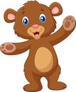 Cartoon happy baby brown bear waving hand Royalty Free Stock Photo