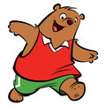 Cartoon happy bear playing and running with athletic suit wearing sport clothes Royalty Free Stock Images