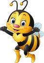 Cartoon happy bee Royalty Free Stock Photo
