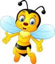 Cartoon happy bee isolated on white background Royalty Free Stock Photo