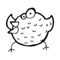 Cartoon happy bird black and white line in retro style vector available Royalty Free Stock Photos