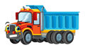 Cartoon happy cargo truck looking and smiling