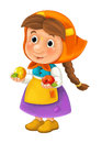 Cartoon happy character of farm woman holding two apples in hands / traditional clothes - isolated